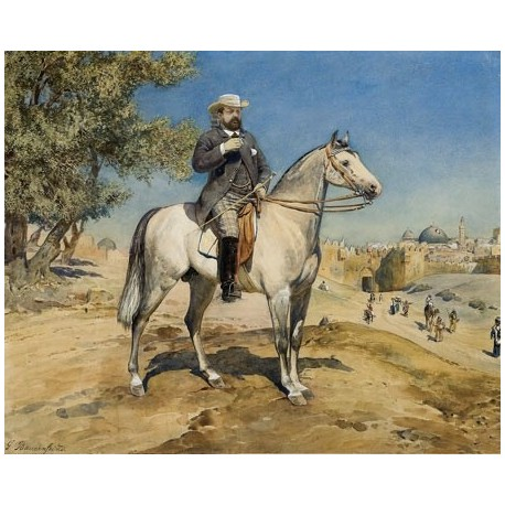 A Rider on a Horse at Jerusalem's Gates by Gustav Bauernfeind - Jewish Art Oil Painting Gallery
