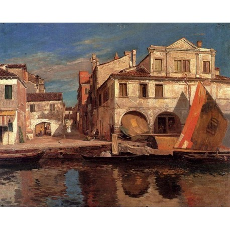 Canal Scene in Chioggia by Gustav Bauernfeind - Jewish Art Oil Painting Gallery