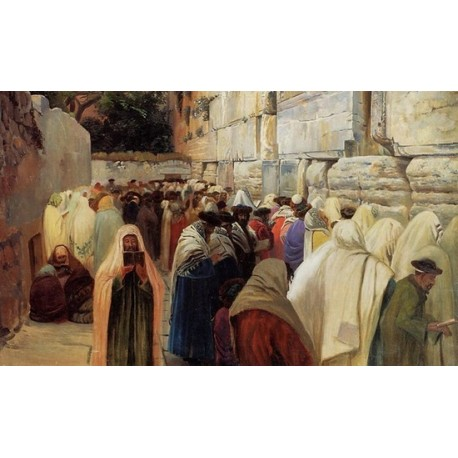 Jews at the Wailing Wall by Gustav Bauernfeind - Jewish Art Oil Painting Gallery