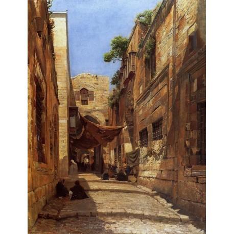 Scene of Street in Jerusalem by Gustav Bauernfeind - Jewish Art Oil Painting Gallery