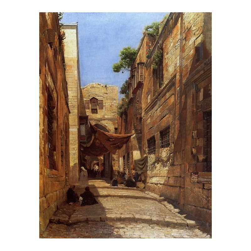 Scene of Street in Jerusalem by Gustav Bauernfeind ...