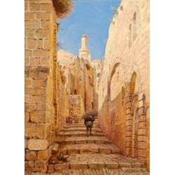 Street by Gustav Bauernfeind - Jewish Art Oil Painting Gallery