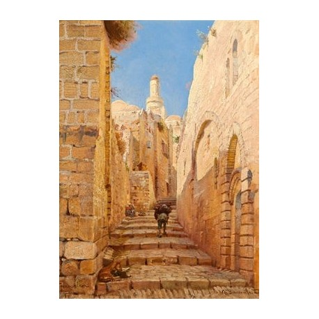 Street by Gustav Bauernfeind - Jewish Art Oil Painting Gallery