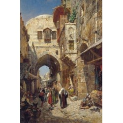 King David Street, Jerusalem 1 by Gustav Bauernfeind - Jewish Art Oil Painting Gallery