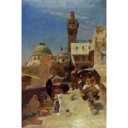 Oriental Street Scene by Gustav Bauernfeind - Jewish Art Oil Painting Gallery