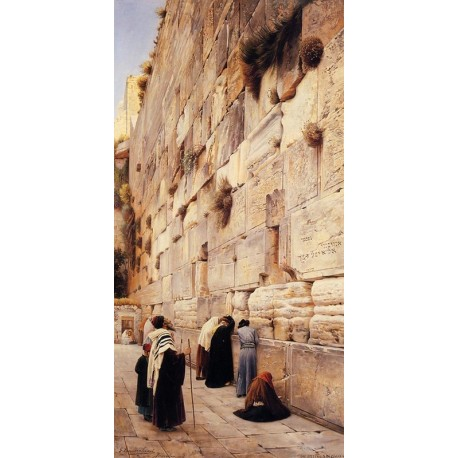The Wailing Wall by Gustav Bauernfeind - Jewish Art Oil Painting Gallery
