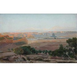 View of Jerusalem by Gustav Bauernfeind - Jewish Art Oil Painting Gallery