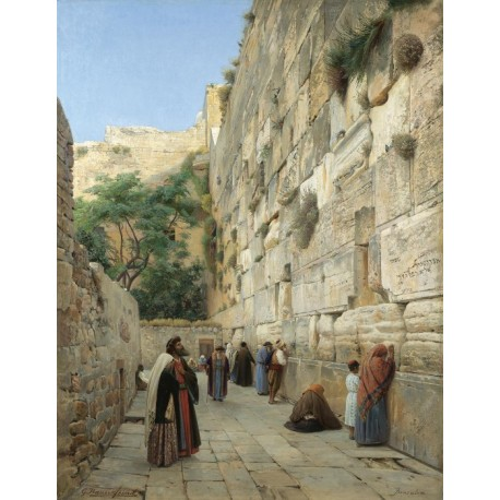 Wailing Wall by Gustav Bauernfeind - Jewish Art Oil Painting Gallery