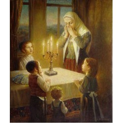 Elena Flerova - Welcoming the Shabbat | Jewish Art Oil Painting Gallery