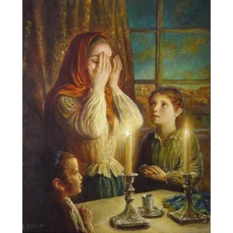 Welcoming the Shabbat IV | Jewish Art Oil Painting