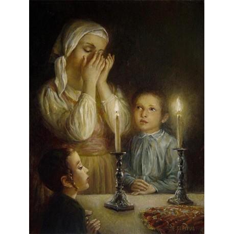 Welcoming the Shabbat III | Jewish Art Oil Painting