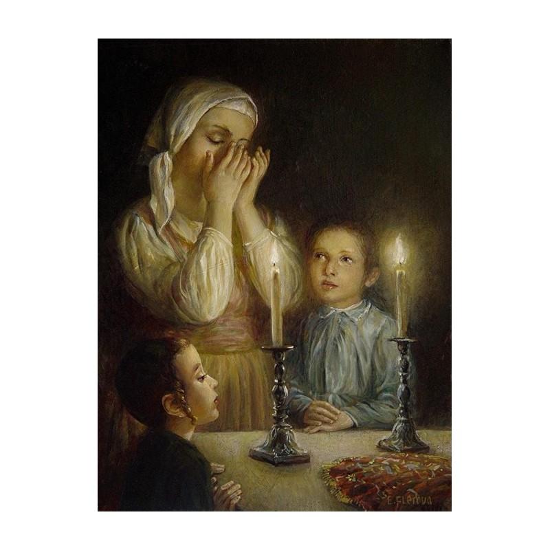Elena Flerova Welcoming The Shabbat Iii Jewish Art Oil