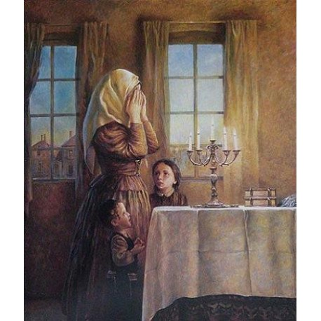 Welcoming the Shabbat II | Jewish Art Oil Painting