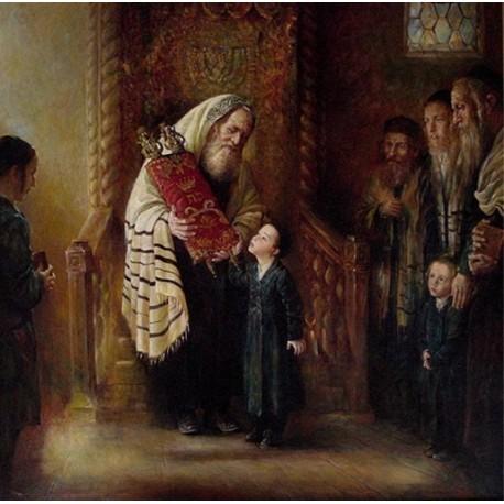 Kissing the Torah | Jewish Art Oil Painting