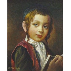 Elena Flerova - A Jewish Boy | Jewish Art Oil Painting Gallery