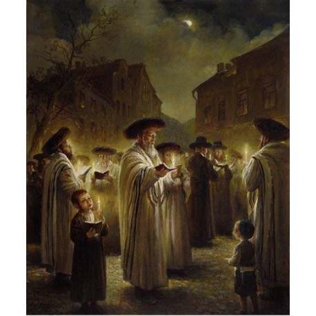 Elena Flerova - Blessing on the Moon II | Jewish Art Oil Painting Gallery