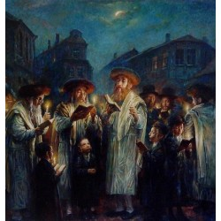 Elena Flerova - Blessing The New Moon | Jewish Art Oil Painting Gallery