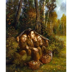 Elena Flerova - Boys in the forest | Jewish Art Oil Painting Gallery