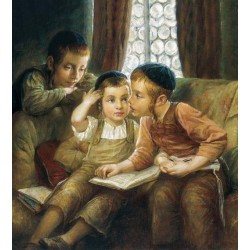 Elena Flerova - Boys Time | Jewish Art Oil Painting Gallery
