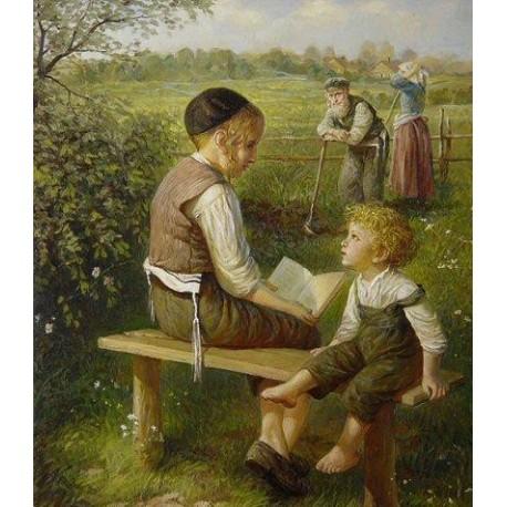 Elena Flerova - Children in the Forest II | Jewish Art Oil Painting Gallery
