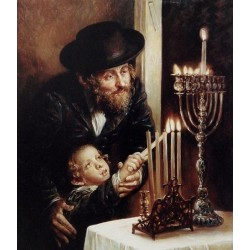 Elena Flerova - Channukah Lighting | Jewish Art Oil Painting Gallery