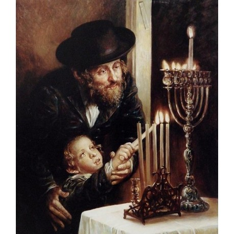Elena Flerova - Channukah Lighting | Jewish Art Oil Painting Gallery