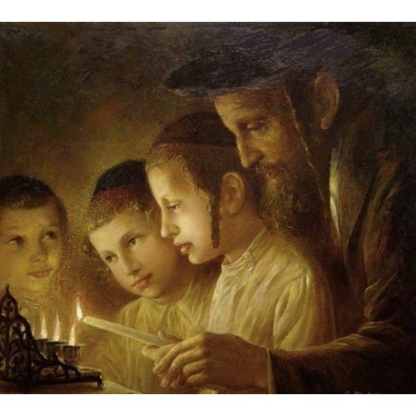 Elena Flerova - Channukah Lights | Jewish Art Oil Painting Gallery
