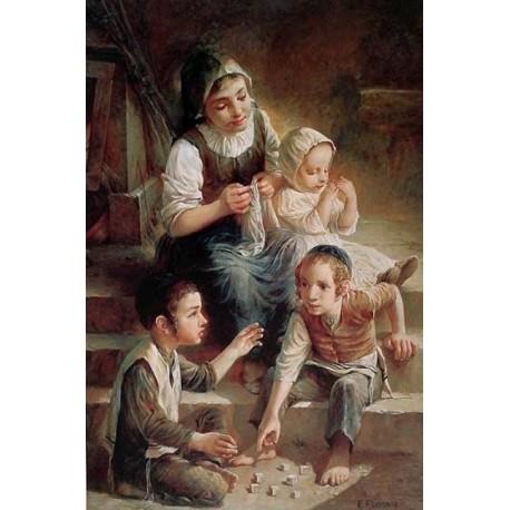 Elena Flerova - Children on the stairs | Jewish Art Oil Painting Gallery
