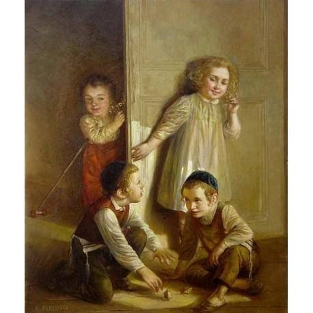 Elena Flerova - Dreidel II | Jewish Art Oil Painting Gallery