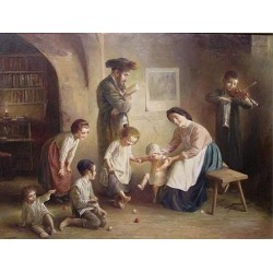 Elena Flerova - Family Time | Jewish Art Oil Painting Gallery