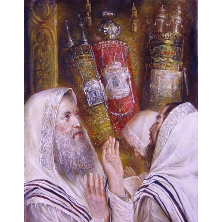 Elena Flerova - In Shul | Jewish Art Oil Painting Gallery