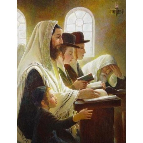Elena Flerova - In Sinagogue Boy | Jewish Art Oil Painting Gallery