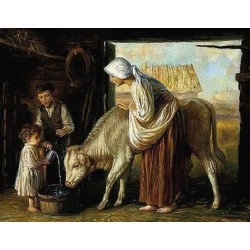 Elena Flerova - In The Barn | Jewish Art Oil Painting Gallery