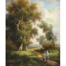 Elena Flerova - Landscape Walk | Jewish Art Oil Painting Gallery