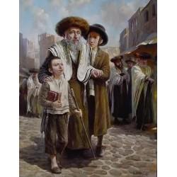 Elena Flerova - Leaving Shul | Jewish Art Oil Painting Gallery