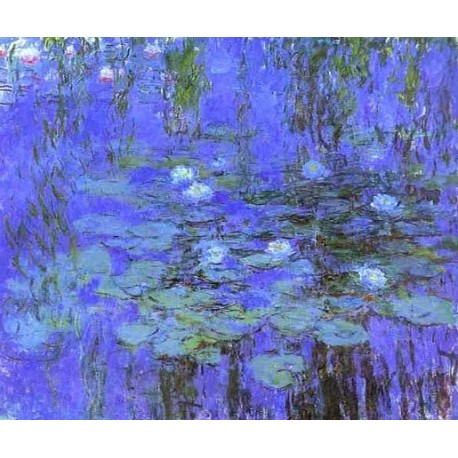 Blue Water Lilies by Claude Oscar Monet - Art gallery oil painting reproductions