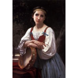 Gypsy Girl with a Basque Drum by William Adolphe Bouguereau - Art gallery oil painting reproductions