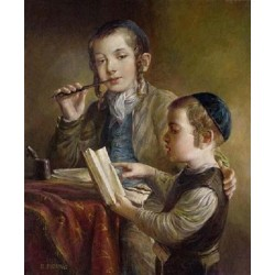 Elena Flerova - Lesson IV | Jewish Art Oil Painting Gallery