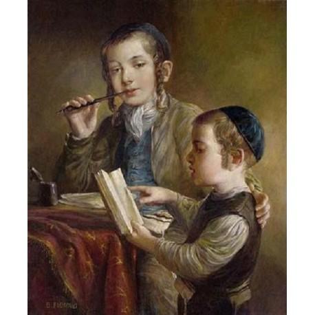 Elena Flerova - Lesson IV | Jewish Art Oil Painting Gallery