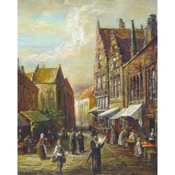 Elena Flerova - Market I | Jewish Art Oil Painting Gallery