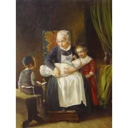 Elena Flerova - Mother with Kids | Jewish Art Oil Painting Gallery