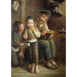 Elena Flerova - Shoemaker | Jewish Art Oil Painting Gallery