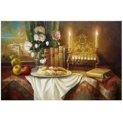 Elena Flerova - Still life with donuts | Jewish Art Oil Painting Gallery
