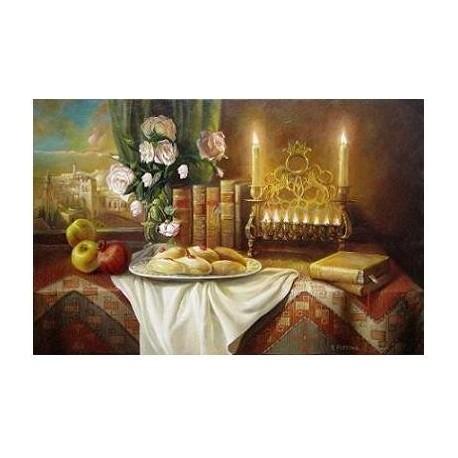 Elena Flerova - Still life with donuts | Jewish Art Oil Painting Gallery