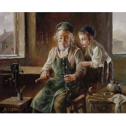 Elena Flerova - The Clarinist | Jewish Art Oil Painting Gallery