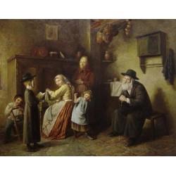 Elena Flerova - The Family I | Jewish Art Oil Painting Gallery