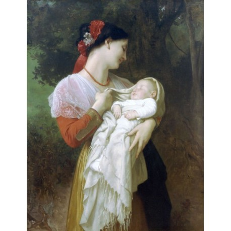 Maternal Admiration by William Adolphe Bouguereau - Art gallery oil painting reproductions