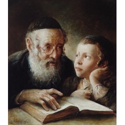 Elena Flerova - The Lesson V | Jewish Art Oil Painting Gallery