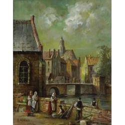 Elena Flerova - The Market | Jewish Art Oil Painting Gallery