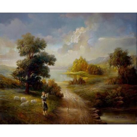 Elena Flerova - The Shepherd | Jewish Art Oil Painting Gallery